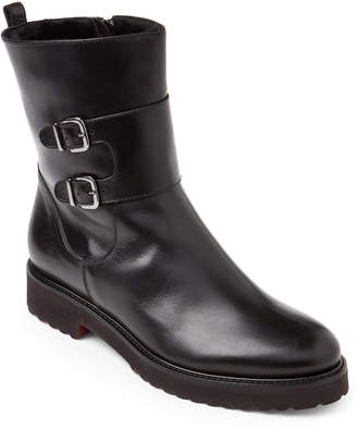 Luca Grossi Black Real Fur-Lined Buckled Leather Boots