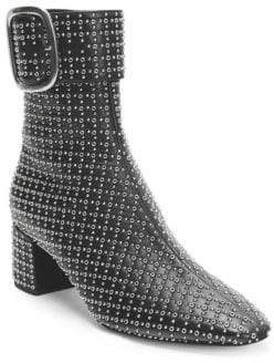 Saint Laurent Joplin Studded Leather Buckle Booties