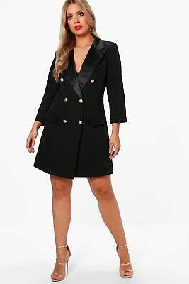 boohoo NEW Womens Plus Lauren Button Tuxedo Dress in Black size 18