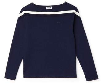 Lacoste Women's Made In France Boat Neck Contrast Band Cotton Sweatshirt