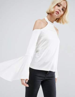 Asos Design Cold Shoulder Top in Crepe with Pretty Drape Sleeves
