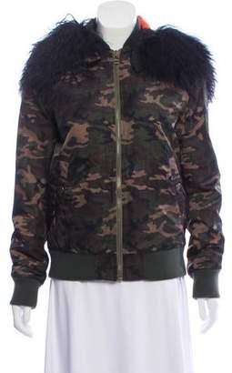 Mr & Mrs Italy Fur-Trimmed Camouflage Coat