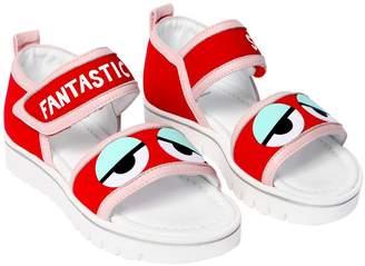 Fendi Eyes Neoprene & Leather Sandals