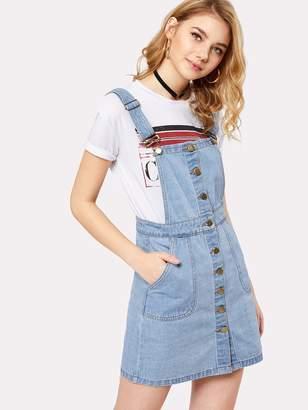 SheinShein Button Front Overall Denim Dress