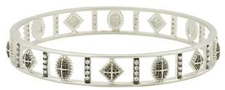 Freida Rothman Two-Tone Rhodium Plated Sterling Silver Industrial Pave CZ Bangle