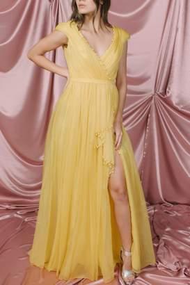 Pamella Roland Yellow Silk Organza