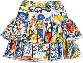 Dolce & Gabbana Maiolica Print Cotton Poplin Skirt
