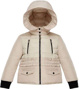 Moncler Adonise Two-Tone Ruffle-Trim Hooded Jacket, Size 8-14