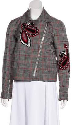 Mary Katrantzou Glen Check Silk-Blend Jacket