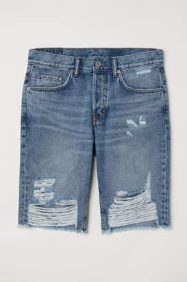H&M Straight Long Denim Shorts - Blue