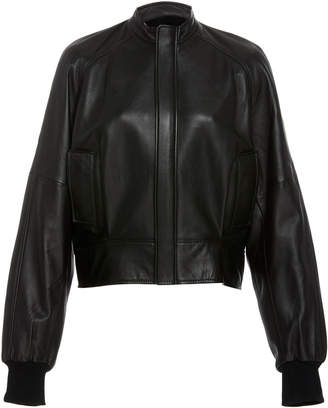 Bassike Cropped Leather Bomber