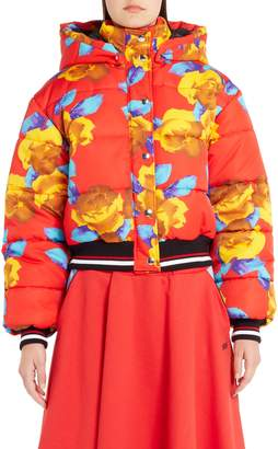 MSGM Floral Print Crop Puffer Jacket