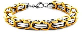 """West Coast Jewelry Two Tone Stainless Steel Byzantine Chain Link Bracelet (8mm) - 8"""""""