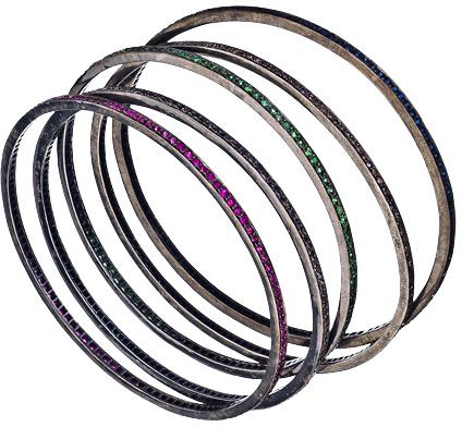 Hari Jewels Silver Jeweled Bangles