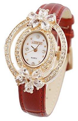 Abiste (アビステ) - [アビステ]ABISTE オーバル型フラワークリスタル型押しベルト腕時計 9170023