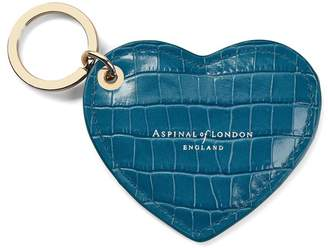Aspinal of London Heart Key Ring In Deep Shine Topaz Small Croc