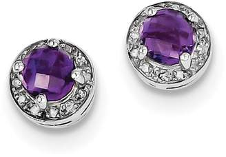 Diamond2Deal 925 Sterling Silver Rhodium-plated Diamond and Amethyst Earring