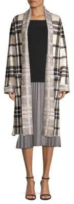 Donna Karan Plaid Duster Cardigan