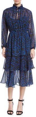 Haute Rogue Nicole Long-Sleeve Tiered Printed Chiffon Midi Dress