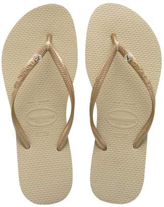 Havaianas Womens Gold Crystal Slim Flip Flop - Gold