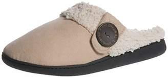 Dearfoams Women's Wide Width Microsuede Clog with Button Tab Slipper