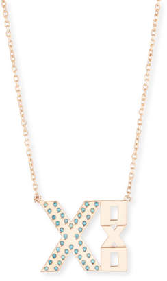XOXO Stevie Wren 14k Rose Gold Blue Diamond Necklace