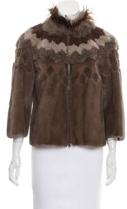 Brunello Cucinelli Mink Feather-Trimmed Jacket w/ Tags