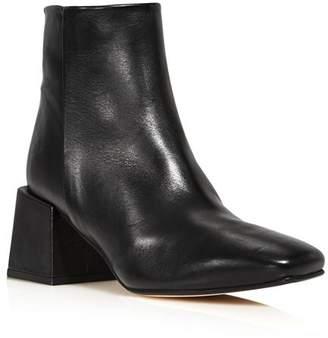 LoQ Women's Lazaro Almond Toe Leather Mid-Heel Booties
