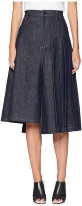 Yohji Yamamoto Y's by S-Asymmetry Pleats Denim Skirt Women's Skirt