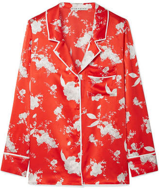 Alice + Olivia Keir Floral-print Silk-satin Shirt - Red