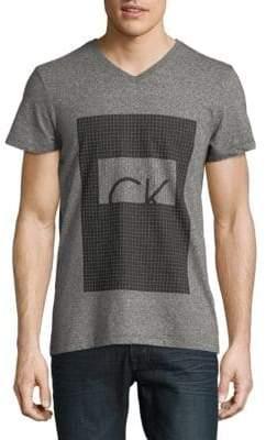 Calvin Klein Square Grid Logo V-Neck T-Shirt