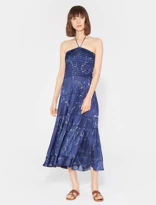 Halston Smocked Printed Dress