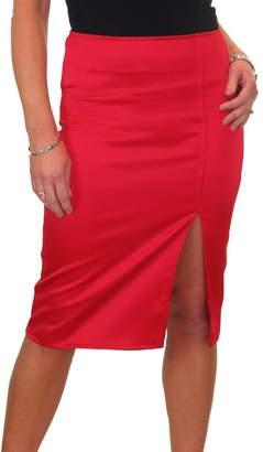 Ice 2552-3) Front Thigh Split Stretch Shine High Waist Pencil Skirt 2-14