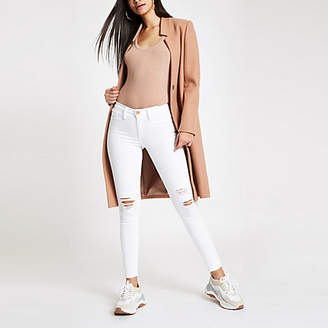 River Island White RI Molly mid rise ripped jeggings