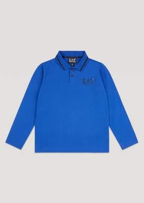 Emporio Armani Boys Long-Sleeved Cotton Polo Shirt With Ea7 Logo