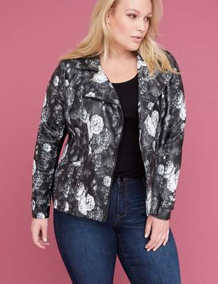 Lane Bryant Printed Floral Faux Leather Moto Jacket
