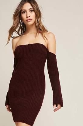 Forever 21 Ribbed Knit Off-the-Shoulder Mini Dress