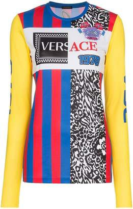 Versace logo embroidered multi print top