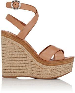 Prada Women's Crisscross Ankle-Strap Platform Sandals-TAN $790 thestylecure.com