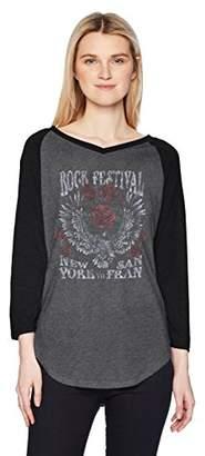 Fifth Sun Women's Rebel Rose Fashion Ranglan Top