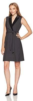 Calvin Klein Women's Petite Sleeveless Collared Wrap Dress