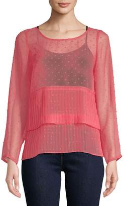Plenty by Tracy Reese Pleated See-Through Top