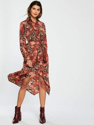 Very Snake Twist Front Shirt Dress - Printed