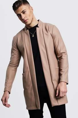 boohoo Edge To Edge Smart Wool Look Overcoat