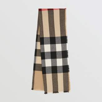 Burberry Fringed Check Wool Cashmere Scarf, Brown