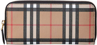 Burberry Vintage Check Leather Zip Around Wallet