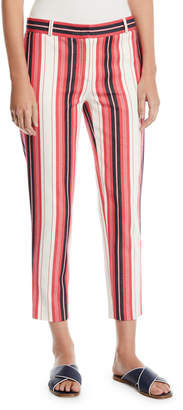 Loro Piana Striped Cotton Skinny Cropped Pants
