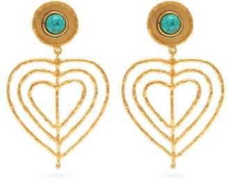 Sylvia Toledano - Valentine Heart Clip On Earrings - Womens - Blue