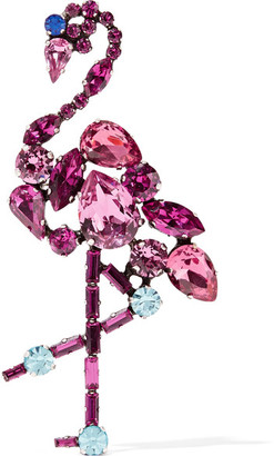 Marc Jacobs - Flamingo Silver-tone Crystal Brooch - Pink $200 thestylecure.com
