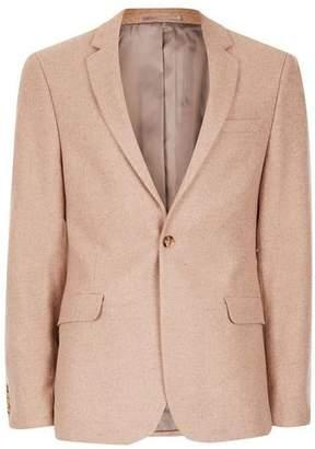 Topman Mens Pink Skinny Fit Suit Jacket With Wool